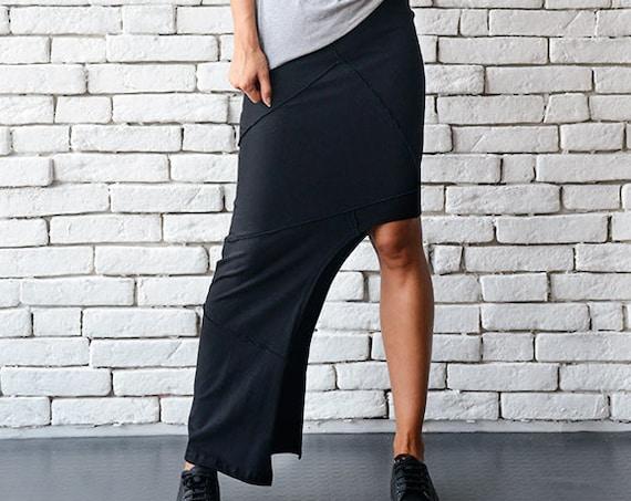 Asymmetric Black Skirt/Extravagant Long Short Skirt/Tight Sexy Skirt/Black Cotton Skirt/Urban Style Skirt/Elastic Waistband Skirt/Long Skirt