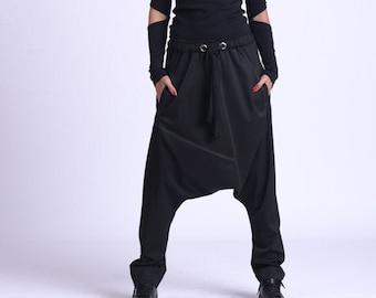 Black Drop Crotch Pants/Plus Size Maxi Pants/Elastic Waist Gypsy Pants/Oversize Casual Pants/Loose Black Trousers/Casual Pants METP0068
