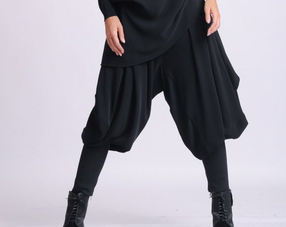 NEW Black Drop Crotch Pants/Loose Maxi Pants/Extravagant Plus Size Trousers/Black Harem Pants/Black Gypsy Pants/Oversize Long Trousers