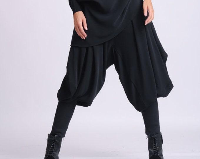 NEW Black Drop Crotch Pants/Loose Maxi Pants/Extravagant Plus Size Trousers/Black Harem Pants/Black Gypsy Pants/Oversize Long Trousers