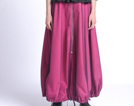 Long Maxi Skirt/Mesh Layer Skirt/Elastic Waist Skirt/Oversize Zipper Skirt/Fuschia Plus Size Skirt/Pink Maxi Skirt with Mesh METSk0027