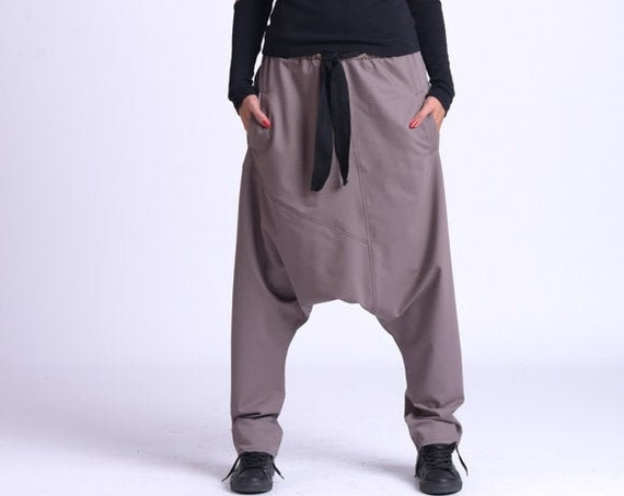 NEW Plus Size Maxi Pants/Loose Harem Pants/Oversize Casual Trousers/Drop Crotch Pants/Elastic Waist Pants/Long Loose Trousers METP0068