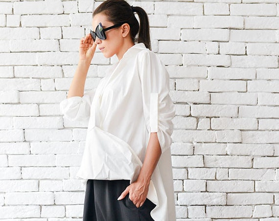 Extravagant Long White Shirt / Asymmetric Loose Top / Casual White Tunic - Plus Size Available by METAMORPHOZA