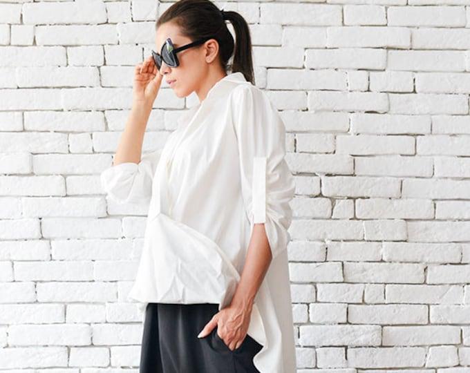 Extravagant Long White Shirt / Asymmetric Loose Top / Casual White Tunic - Plus Size Available by METAMORPHOZA