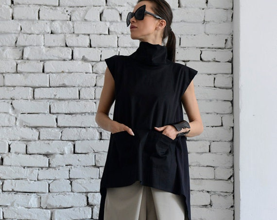 Black Maxi Tunic/Asymmetric Casual Top/Open Back Top/Large Collar Black Shirt/Summer Oversize Tunic Top/Black Long Top by METAMORPHOZA