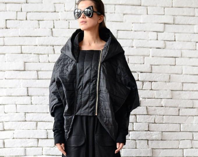 Extravagant Long Short Jacket/Asymmetric Black Coat/Oversize Cardigan/Loose Black Poncho/Black Hooded Jacket/Comfortable Black Maxi Blazer