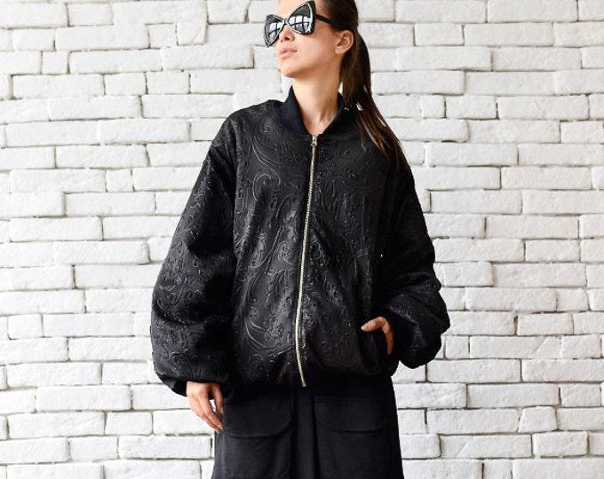 Neoprene Bomber Jacket/Black Loose Jacket/Oversize Black Tunic/Extravagant Pattern Zipper Jacket/Plus Size Casual Jacket/Short Loose Coat