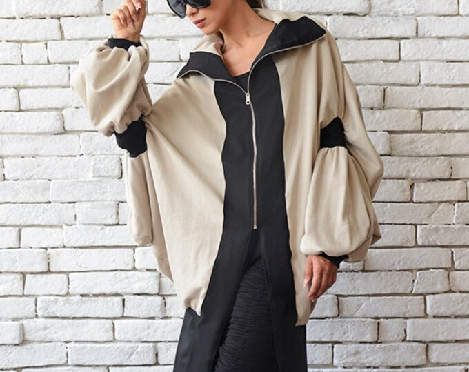 Asymmetric Maxi Coat/Beige Long Jacket/Loose Oversize Blazer/Extravagant Casual Jacket/Long Zipper Top/Plus Size Tunic/Beige Maxi Cardigan