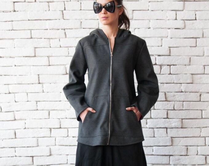 Grey Loose Jacket/Oversize Hooded Blazer/Extravagant Jacket with Hood/Plus Size Maxi Coat/Long Zipper Jacket/Casual Hooded Jacket/Maxi Coat