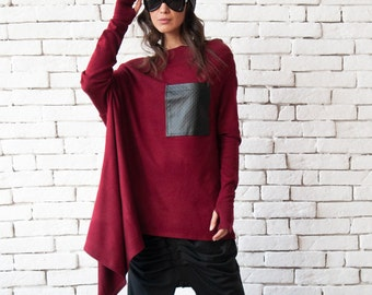 Burgundy Knitted Tunic / Casual Oversized Sweater / Off the Shoulder Top / Plus Size Tunic Top / Blouse with Pocket / Plus Size Clothing