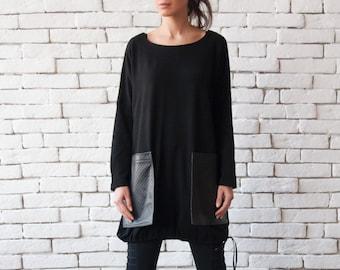 Loose Black Tunic/Oversize Black Blazer/Comfortable Plus Size Top/Long Sleeve Shirt/Leather Pocket Top/Black Maxi Tunic/Black Warm Sweater