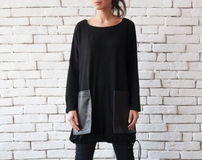 Loose Black Tunic/Oversize Black Blazer/Comfortable Plus Size Top/Long Sleeve Shirt/Leather Pocket Top/Black Maxi Tunic/Black Warm Sweater