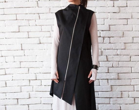 Black Long Loose Vest/Asymmetric Extravagant Tunic/Sleeveless Zipper Jacket/Open Back Loose Shirt/Black Maxi Dress/Oversize Long Casual Top