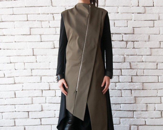 Extravagant Two Color Blazer/Oil Green and Black Loose Tunic/Sleeveless Khaki Casual Shirt/Plus Size Trench Coat/Asymmetric Zipper Jacket
