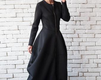 Black Long Coat / Fit and Flare Dress / Maxi Black Dress / Victorian Dress / Steampunk Dress / Black Coat Dress