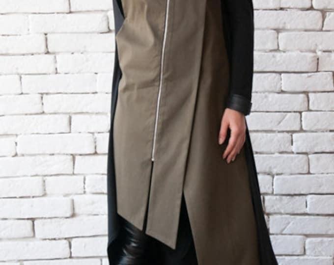 Khaki Long Formal Vest/Elegant Tunic Top/Oil Green Asymmetric Shirt/Extravagant Sleeveless Jacket/Open Back Loose Tunic/Plus Size Long Top