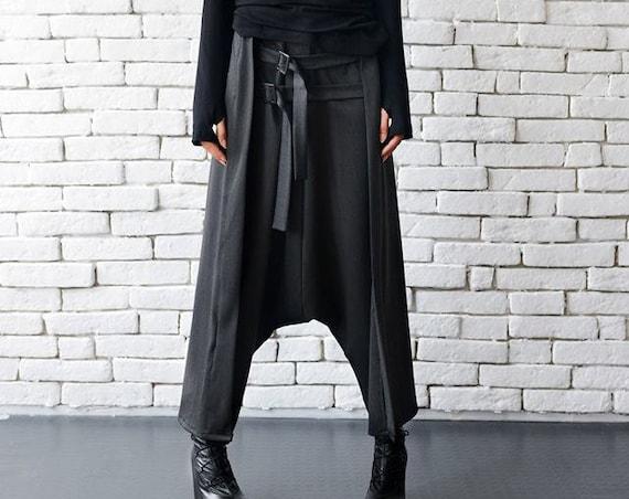 Loose Casual Drop Crotch Harem Pants/Decorative Front Belt Trousers/Grey Oversize Maxi Pants/Plus Size Maxi Pants/Comfortable Pants METP0010