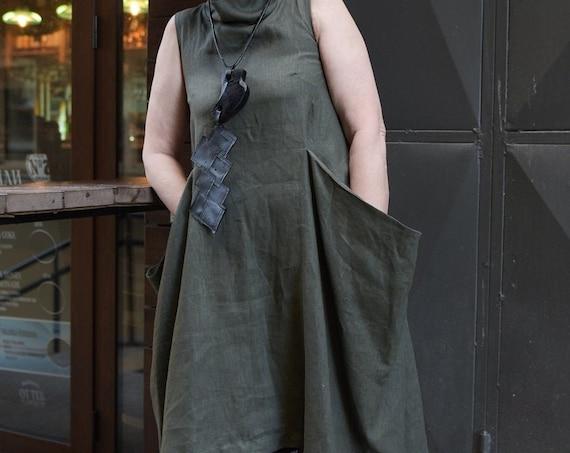 Kaftan Maxi Dress / Khaki Dress / Linen Summer Dress / Casual Summer Dress / Summer Linen Dress