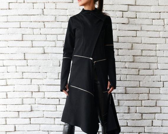 Extravagant Long Coat/Casual Zipper Jacket/Long Asymmetric Trench Coat/Oversize Black Tunic/Modern Black Cardigan/Loose Black Coat METC0033