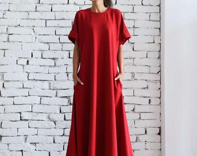 Red Maxi Dress/Oversize Kaftan/Plus Size Maxi Dress/Red Oversize Tunic/Long Evening Dress/Short Sleeve Casual Dress/Loose Red Dress