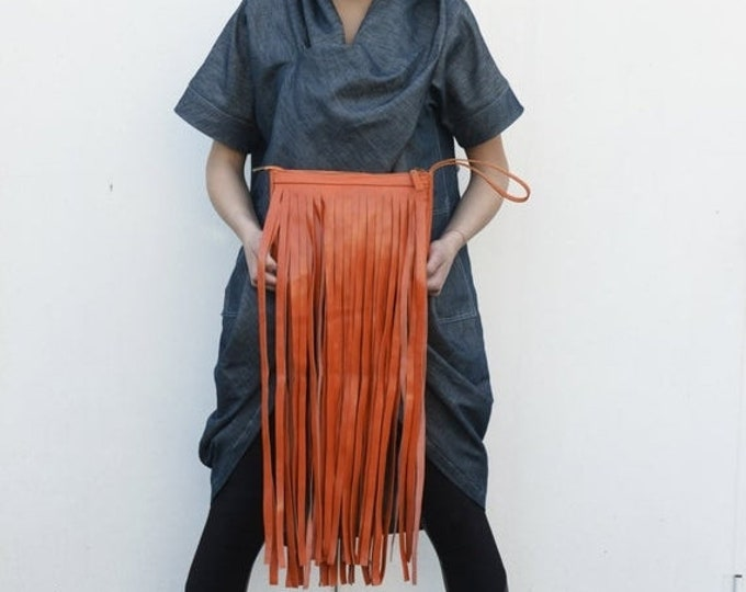 SALE Genuine Leather Clutch / Fringed Clutch / Orange Bag / Party Clutch / Extravagant Handbag by METAMORPHOZA