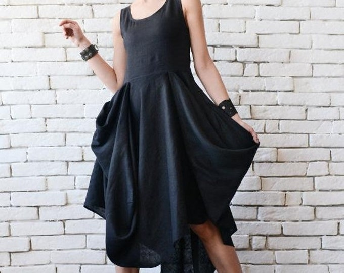 SALE Extravagant Black Dress/Asymmetric Linen Dress/Long Short Sleeveless Dress/Oversize Long Tunic/Black Linen Dress/Everyday Casual Dress