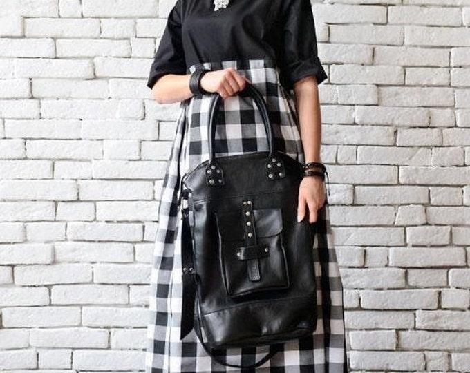 SALE Black Genuine Leather Cross Body Bag/Extravagant Large Black Handbag/Studded Black Tote/Leather Maxi Bag/Black Leather Bag/Leather Purs