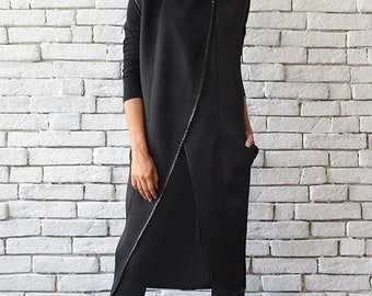 SALE Sleeveless Black Coat/Long Asymmetric Vest/Oversize Neoprene Jacket/Loose Black Tunic Top/Extravagant Casual Cardigan/Black Winter Coat