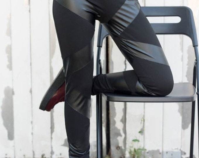 SALE Black Leather Leggings / Leather Striped Leggings / Black Pants / Leather Pants / Sexy Tight Pants with Stripes by METAMORPHOZA