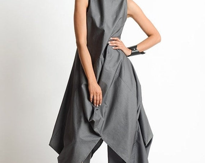 SALE Grey Loose Oversize Dress/Plus Size Casual Dress/Extravagant Tunic Dress/Grey Maxi Dress/High Low Tunic Top/Sleeveless Asymmetric Kafta