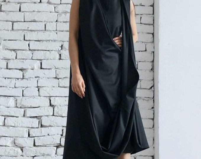 SALE Black Maxi Dress / Loose Long Black Dress / Kaftan / Oversize Black Tunic / Asymmetrical Wrapped Top by METAMORPHOZA