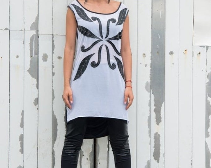 SALE Stylish Black And White Tunic/Asymmetric Tunic/ Handmade Pattern/ Loose Tunic Top/ Extravagant Leather Vest/Carved Leather Top / White