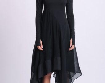 NEW Long Sleeve Asymmetric Dress/Thumb Hole Sleeve Dress/Casual Pleated Dress/Black Chiffon Dress/Everyday Comfortable Dress/Boat Neck Dress