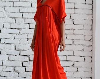 SALE Extravagnt long dress / Long Red Dress / Party dress / Maxi Dress /  Kaftan / V - Shape Neck Dress / Daywear dress by METAMORPHOZA