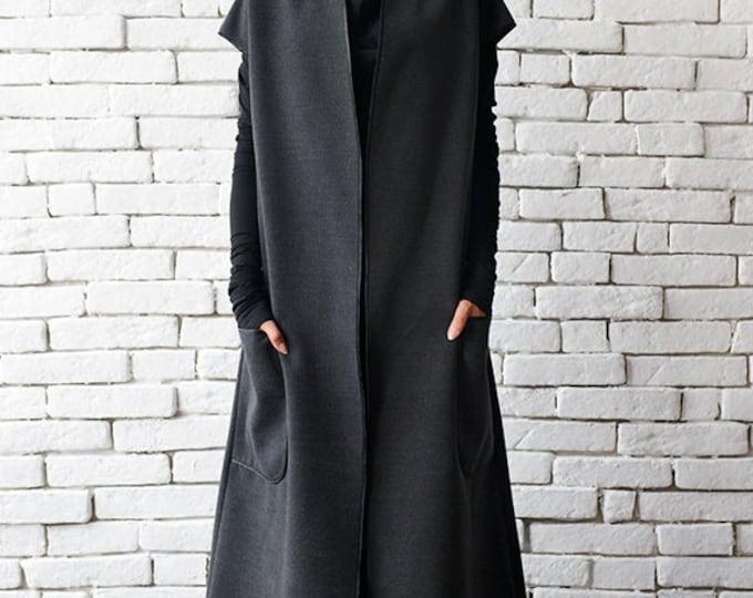 Grey Winter Wool Coat / Loose Long Jacket / Warm Coat with Big Pockets / Oversize Sleeveless Jacket by METAMORPHOZA