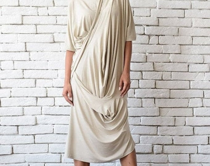 SALE Beige Loose Dress/Oversize Tunic Top/Asymmetric Casual Summer Dress/Half Sleeve Summer Dress/Comfortable Viscose Maxi Dress/Beige Kafta
