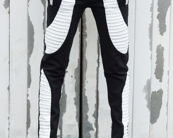 Black and White Pants / Slim Fit Leggings / Leather Cutouts / Cigarette Casual Pants by METAMORPHOZA