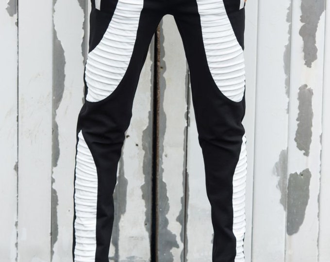 Black and White Pants / Slim Fit Leggings / Leather Cutouts / Cigarette Casual Pants by METAMORPHOZA
