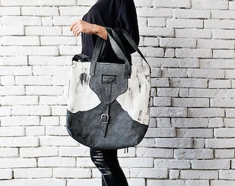 SALE Grey and White Tote Bag/Extravagant Leather Bag/Casual Shoulder Bag/Genuine Leather Clutch/Shoulder Bag/Leather Handbag/Modern Large Pu