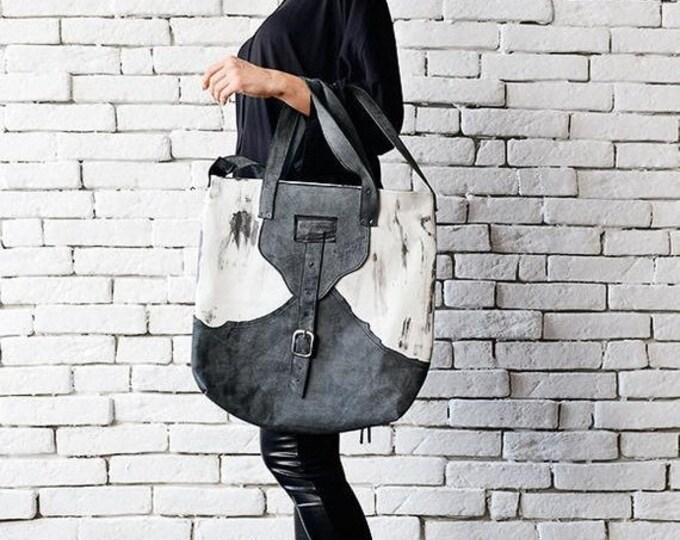 SALE Grey and White Tote Bag/Extravagant Leather Bag/Casual Shoulder Bag/Genuine Leather Clutch/Shoulder Bag/Leather Handbag/Modern Large Pu