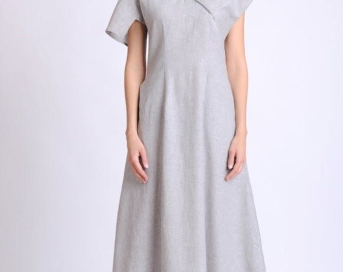 SALE NEW Loose Grey Linen Dress/Asymmetric Summer Kaftan/Short Sleeve Casual Dress/Linen Maxi Dress with Zipper/Long Summer Dress with Pocke