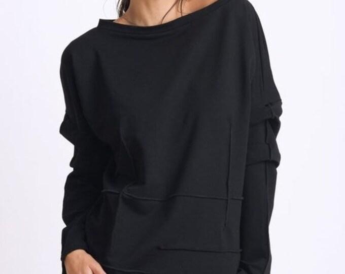 SALE Black Tunic Top/Extravagant Sleeve Sweatshirt/Loose Maxi Tunic/Plus Size Tunic Top/Black Casual Shirt/Comfortable Everyday Blouse