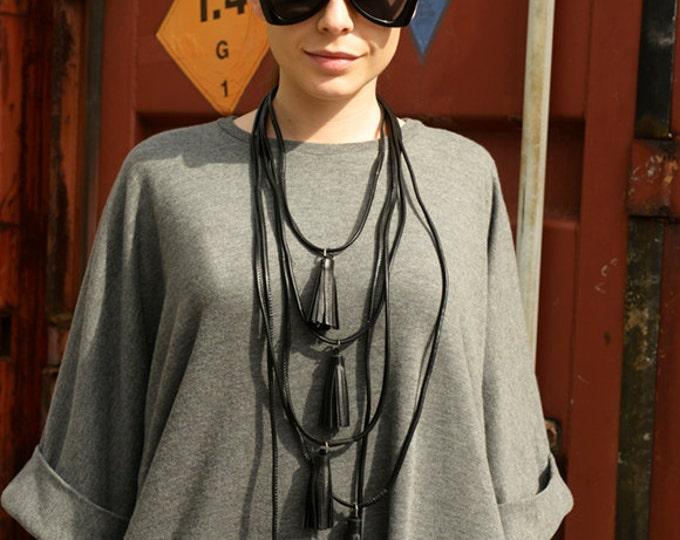 Genuine Leather Necklace / Black Extravagant Necklace with Flowers / Black Tassel Leather Necklace / Extravagant Jewelry by METAMORPHOZA
