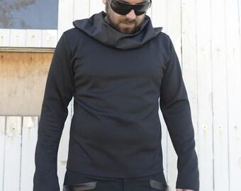 Men Black Top / Extravagant Blouse / Asymmetrical Black Tunic / Collar Black Tunic / Long Sleeve Black Top by METAMORPHOZA