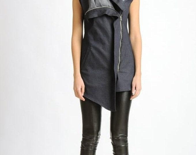 SALE NEW Denim Asymmetric Vest/Extravagant Sleeveless Jacket/Oversize Collar Shirt/Casual Zipper Top/Extravagant Denim Tunic Top/Pocket Vest