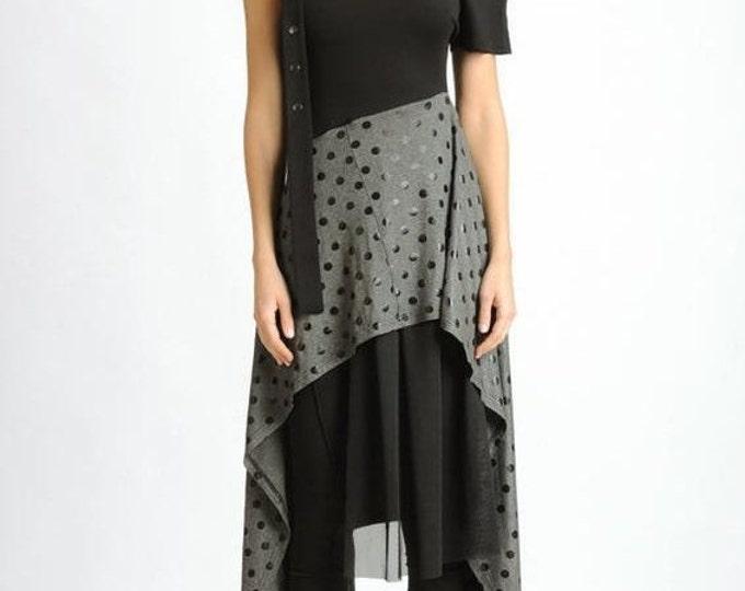 SALE Asymmetric Black and Grey Dress/Extravagant Dotted Pattern Tunic/Mesh Tunic Dress/Extravagant Studded Dress/Short Sleeve Oversize Top