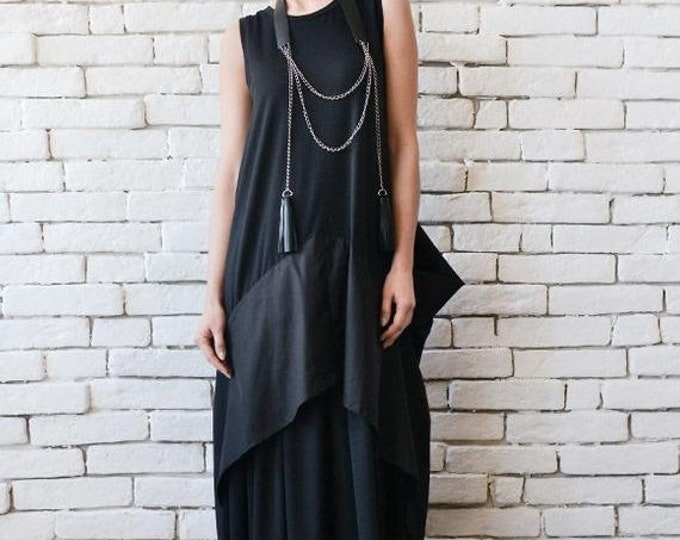 SALE Black Maxi Dress/Extravagant Black Kaftan/Asymmetric Plus Size Dress/Sleeveless Oversize Tunic Top/Suspenders Back/Casual Everyday Dres