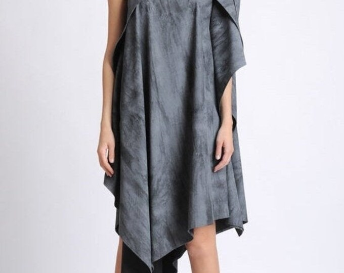 SALE NEW Asymmetric Loose Tunic/Extravagant Short Dress/Sleeveless Oversize Long Top/Plus Size Maxi Tunic/Grey Pattern Casual Tunic/One Stra