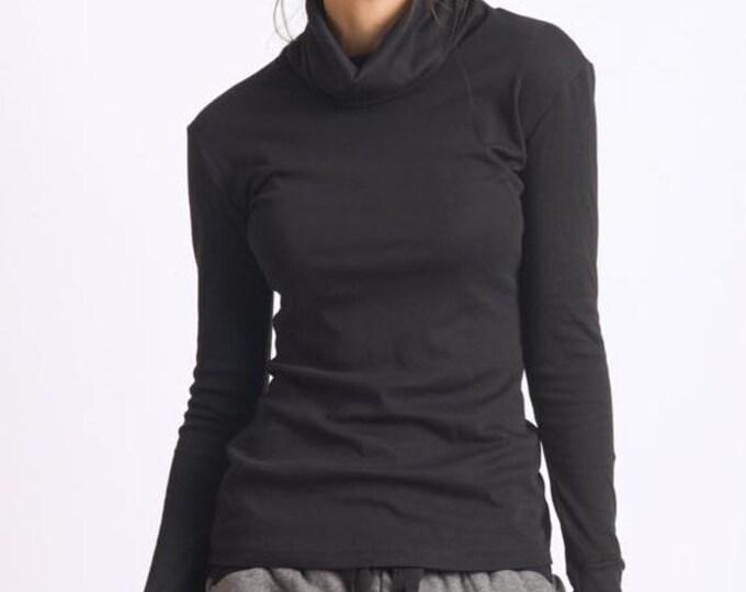 SALE Black Long Sleeve Top/Thumb Holes Sleeve Blouse/Turtle Neck Black Polo/Black Loose Tunic/Casual Sweatshirt/Black Long Sleeve Everyday T