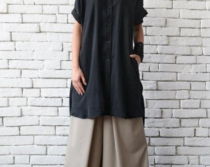 SALE Black Loose Maxi Shirt/Asymmetric Casual Tunic Top/Short Sleeve Button Shirt/Oversize Extravagant Long Top/Black Back Accent Detail Top